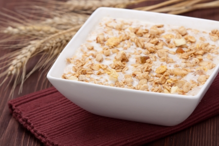 carbohydrates: Bowl of muesli cereal, close up