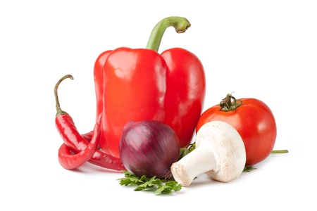 Fresh vegetable ( bell pepper, onion, tomato, mushroom, pepper) photo