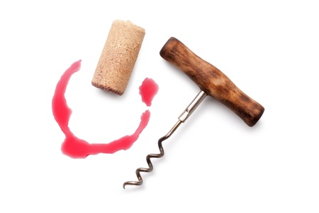 cork screw: Corks and red wine stain over white background Stock Photo