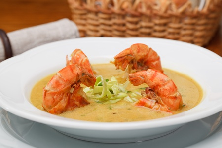 Spicy soup with shrimp in coconut milk Stock Photo - 11594280