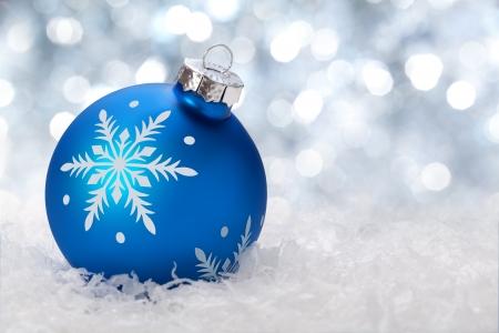 christmas balls on a holiday lights background Stock Photo - 11594276