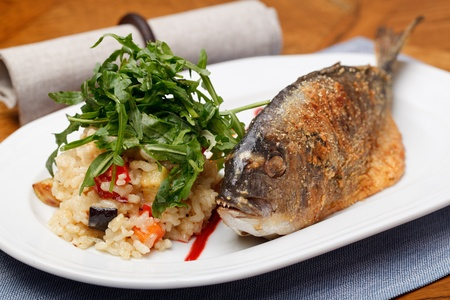 Grilled Sea Bream (Dorado) with risotto Stock Photo - 11993470