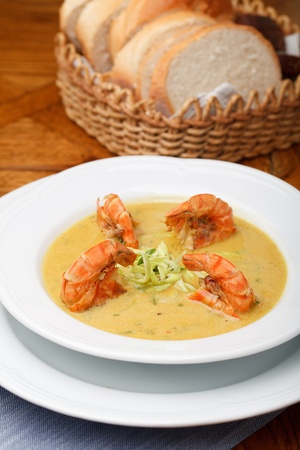 Spicy soup with shrimp in coconut milk Stock Photo - 12115436