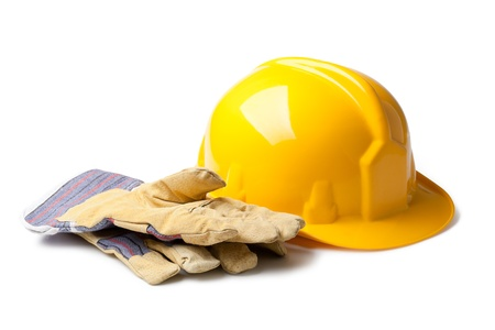 yellow hard hat: Hard Hat And Leather Gloves isolated on white