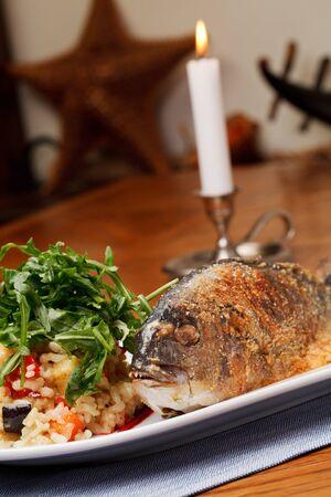 Grilled Sea Bream (Dorado) with risotto photo