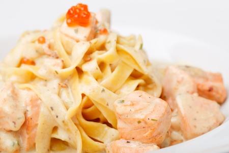 Fettuccine with salmon and caviar sauce Stock Photo - 12115723
