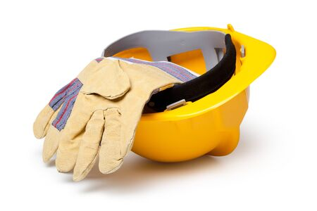 safety hat: Hard Hat And Leather Gloves isolated on white