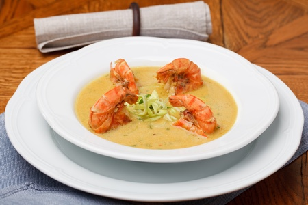 Spicy soup with shrimp in coconut milk Stock Photo - 12454251