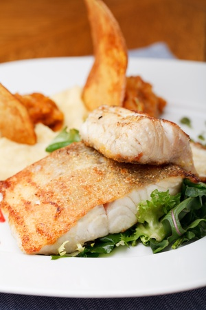 zander: roasted pikeperch fillet with mashed potatoes Stock Photo