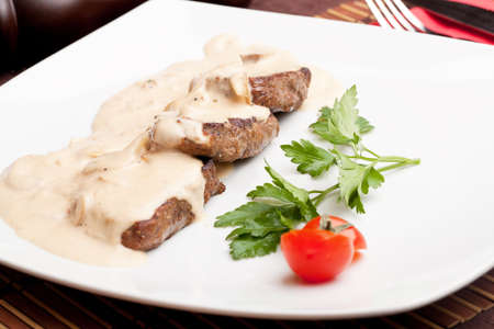 Roasted meat under white sauce Stock Photo - 12454245
