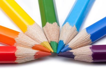 Farbstiften auf weißem Hintergrund Standard-Bild