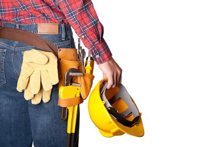 tools belt: Construction worker with toolbelt on white Stock Photo