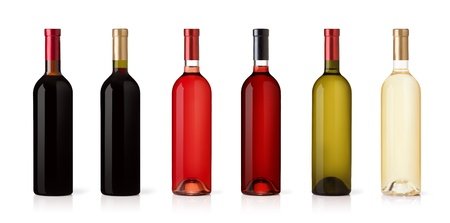 green glass bottle: Set of white, rose, and red wine bottles. isolated on white background Stock Photo