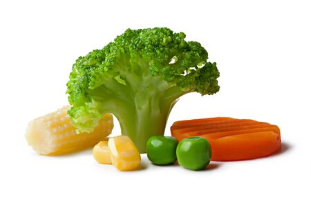 brocoli: broccoli, peas, carrot and maize on a White background