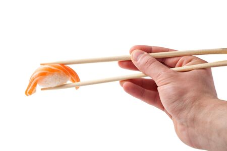 susi: Sushi with chopsticks on a white Stock Photo