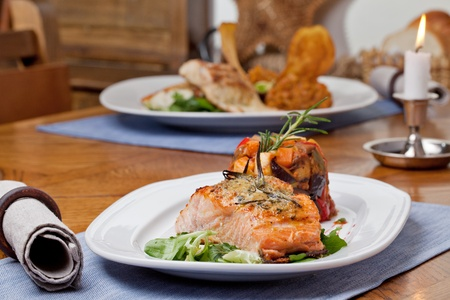 Grilled salmon fillet with ratatouille photo