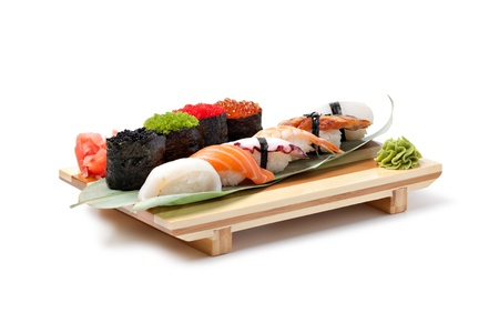 Classic japanese food- sushi on a white photo