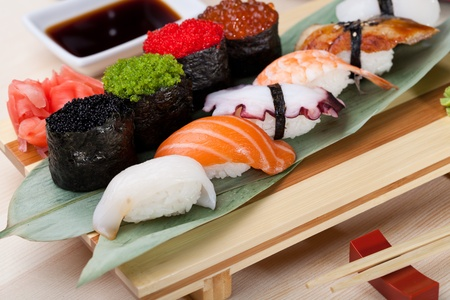 Classic japanese food- sushi on a plate photo