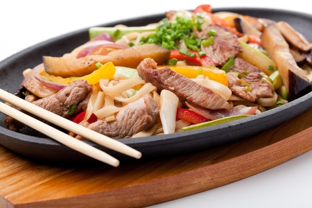Udon with beef,  japanese cuisine photo
