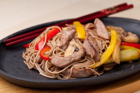 buckwheat noodle: buckwheat noodles with beef,  japanese cuisine