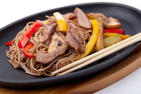 buckwheat noodles with beef,  japanese cuisine photo