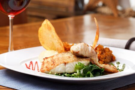 pikeperch: roasted pikeperch fillet with mashed potatoes Stock Photo