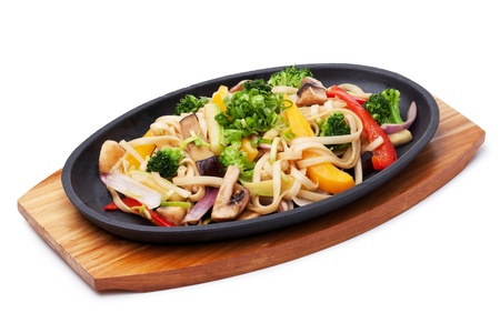 asian noodle: Udon with vegetables,  japanese cuisine