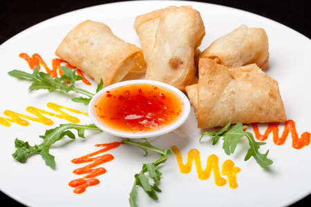 Spring Rolls with sauce on the plate photo