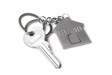 house keys and Keychain on white  background photo