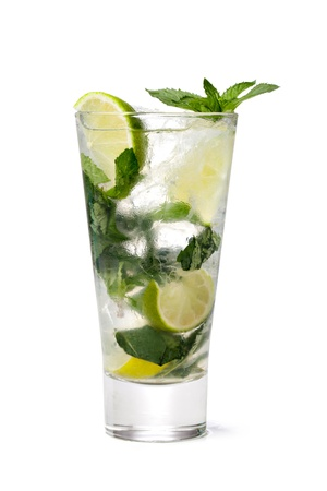 mojito: cold fresh lemonade  Isolated on white background