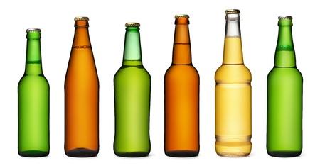 Set of beer bottles  isolated on white background photo