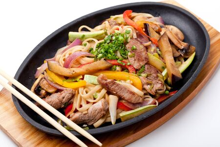 chinese noodle: Udon with beef,  japanese cuisine