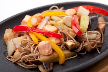 buckwheat noodle: buckwheat noodles with seafood,  japanese cuisine