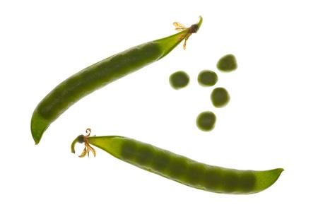 pod: pod of peas on white background