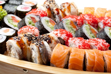 japanese cuisine: full plate of  sushi mix