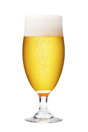 glass of beer: Beer glass on a white background