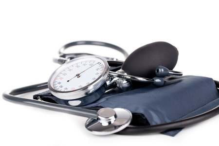 medical instruments: Medical sphygmomanometer on a white background
