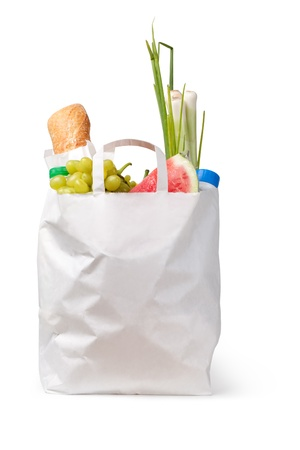 Paper bag with food on a white background photo