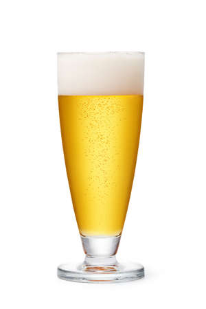 spume: Beer glass on a white background