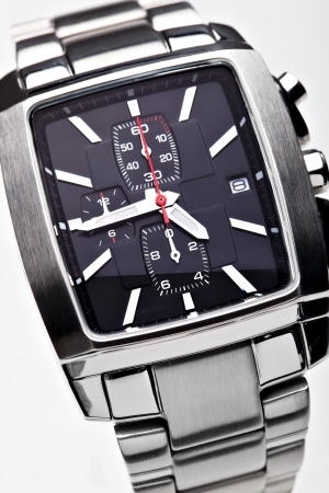 chrome man: Wrist watchon a white background