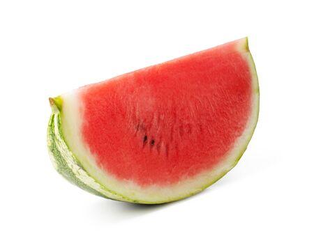 sweet segments: fresh watermelon slices on a white background