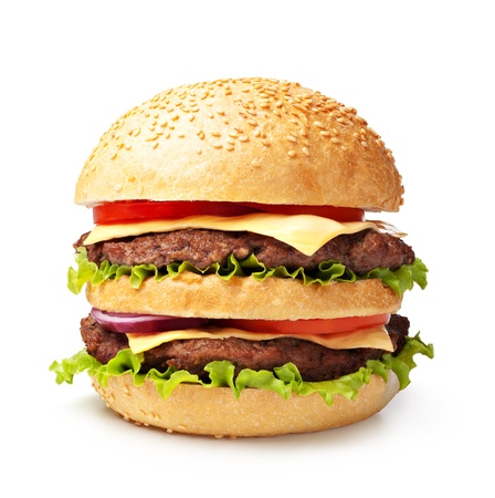 cheeseburgers:  double hamburger isolated on white background