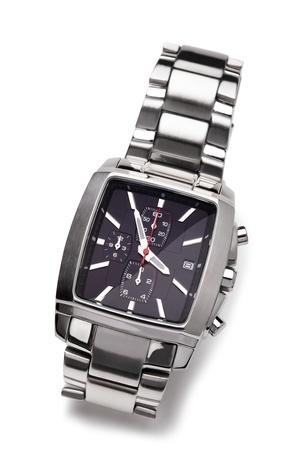 human wrist: Wrist watchon a white background