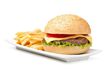 Hamburger isolé sur fond blanc