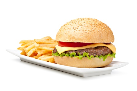 cheeseburgers: hamburger isolated on white background