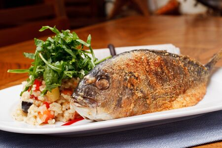 Grilled Sea Bream (Dorado) with risotto photo