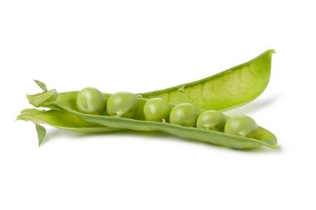 pod of peas on white background photo