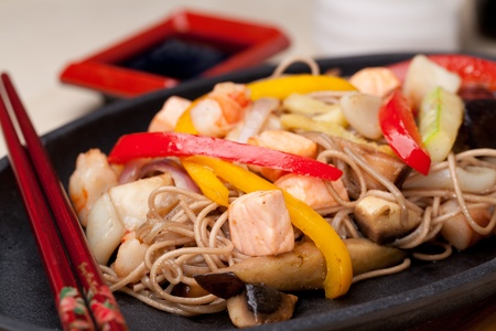 buckwheat noodles with seafood,  japanese cuisine photo