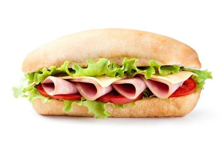 jamon y queso: Sandwich con tocino y verduras sobre fondo blanco Foto de archivo