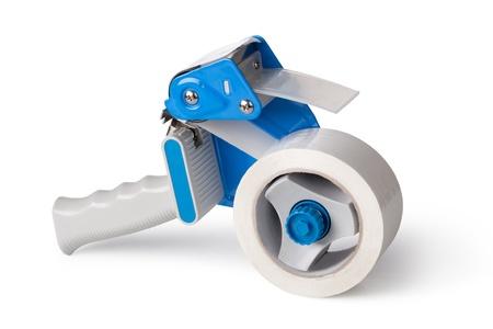 Distributeur Gun conditionnement Ruban Isolé Sur Blanc Banque d'images